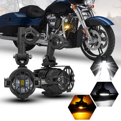 40W LED Auxiliary Lamp Kits with Amber Turn Signals For Motorcycle - LED Factory Mart