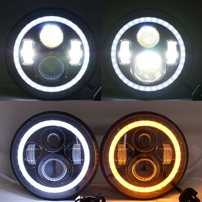 7 inch 80W Jeep Headlights With Angel Eyes & 4'' 30W Cree LED Halo Fog Light - LED Factory Mart