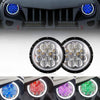 "7"" Bluetooth RGB Headlight w/Angel Eyes For 1997-2018 Jeep Wrangler"