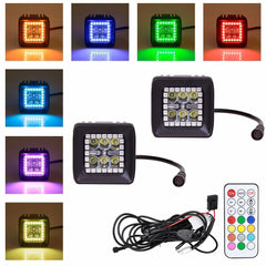 2pcs 18W LED Spot Work Light w/ RGB Halo Ring RF Remote Control
