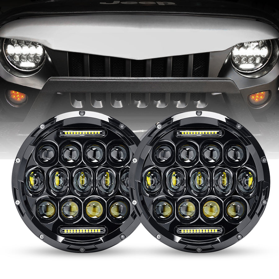 "7"" 75W Cree LED Headlight DRL Hi/Lo Beam For 1997-2019 Jeep Wrangler JK/TJ/LJ/JL"