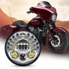 New Version 7 Inch LED Headlight Hi/Lo Beam With L/R Leaning Light For Harley Davidson