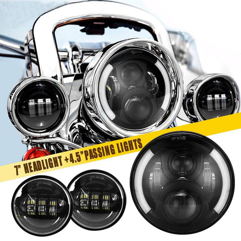 "7"" LED Headlights w/DRL Turn Signal + 4.5"" LED Passing Fog Ligths for Harley"