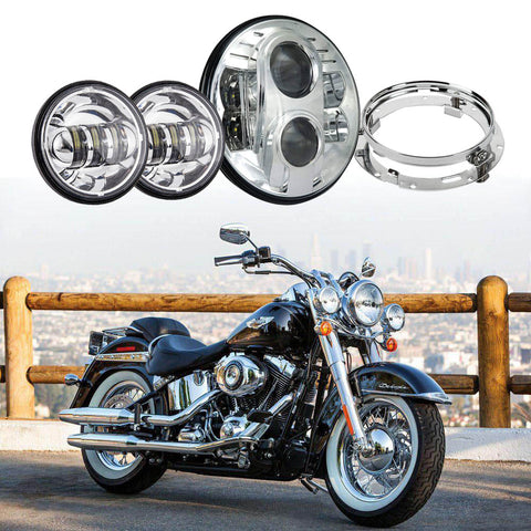 "7"" 80W LED Headlight and 4.5"" Passing Lights With Bracket Combo for Harley"
