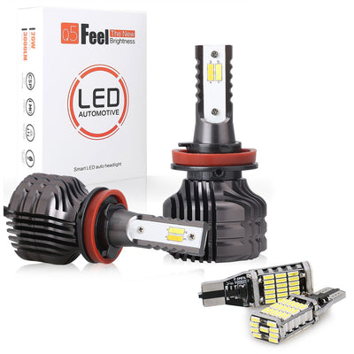LED Car Headlights Hi/Lo Beam & T10 LED Back Light Bulbs
