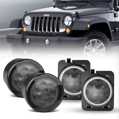 Smoked Jeep Front LED Turning Signals with Fender Flares Lights for 2007 - 2018 Jeep Wrangler