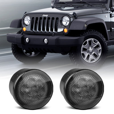 Smoked Amber LED Front Turn Signal Lights for Jeep Wrangler