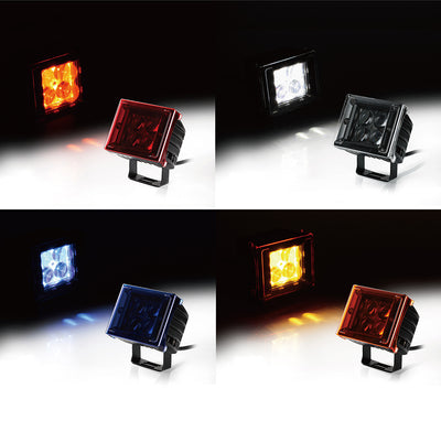 "USA ONLY 20W 3"" 4D Optical Lens 5W CREE LED Light with Amber, Blue, Red, Clear Covers"