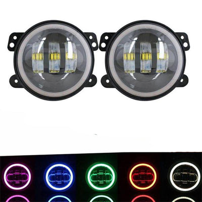 7inch RGB LED Headlights + 4inch LED Fog Light RGB Halos for Jeep Wrangler - LED Factory Mart