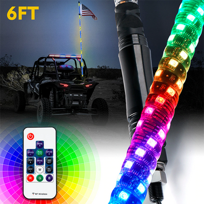 4ft/5ft/6ft Spiral RGB LED Whip Light with Remote Control