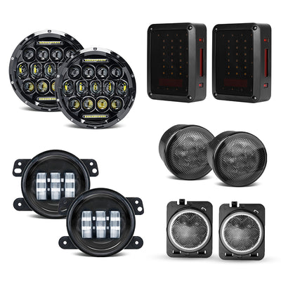 "Jeep 7"" Headlights, 4"" Fog Lamps, Front Turn Signals, Fender Turn Signals & Taillights"
