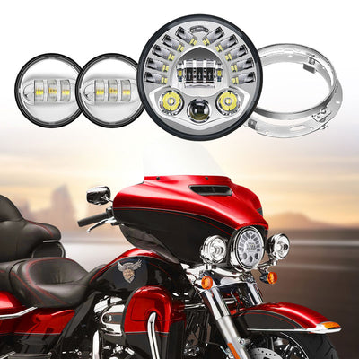 New Version 7 Inch LED Headlight Hi/Lo Beam With L/R Leaning Light +4.5 Inch CREE LED Passing Fog Light With Mounting Bracket Combo
