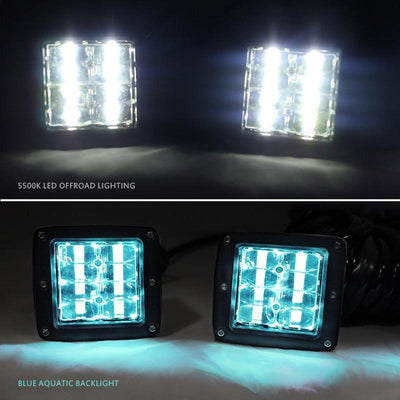 3 Inch LED Spot Light With Blue Backlight Wiring Harness