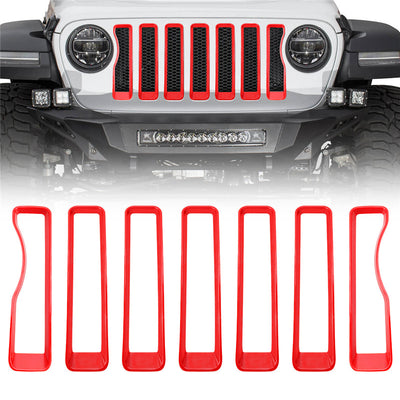 Mesh Front Grille Insert Trim For 2018 Jeep Wrangler JL(Red & Black)