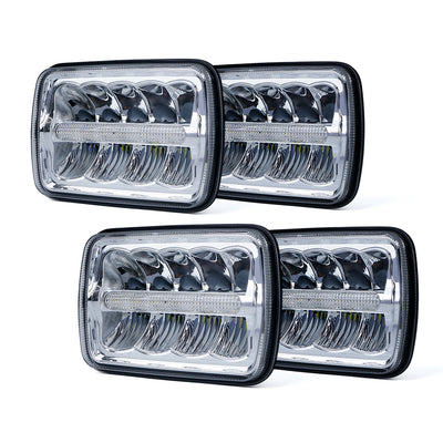 "4PC 7000 Evolution 5x7"" CREE LED Headlight with High/Low Beam and DRL"