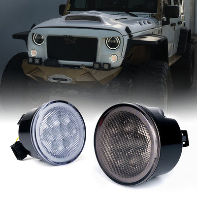 Smoke/Clear LED Amber Turn Signal Light with Halo DRL for 07-18 Jeep Wrangler JK
