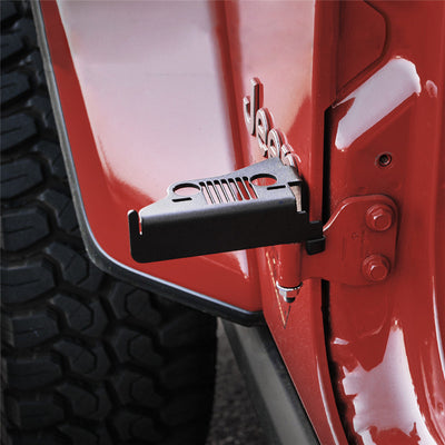 Front Foot Pegs with Jeep Face for 2018-2019 Jeep Wrangler JL