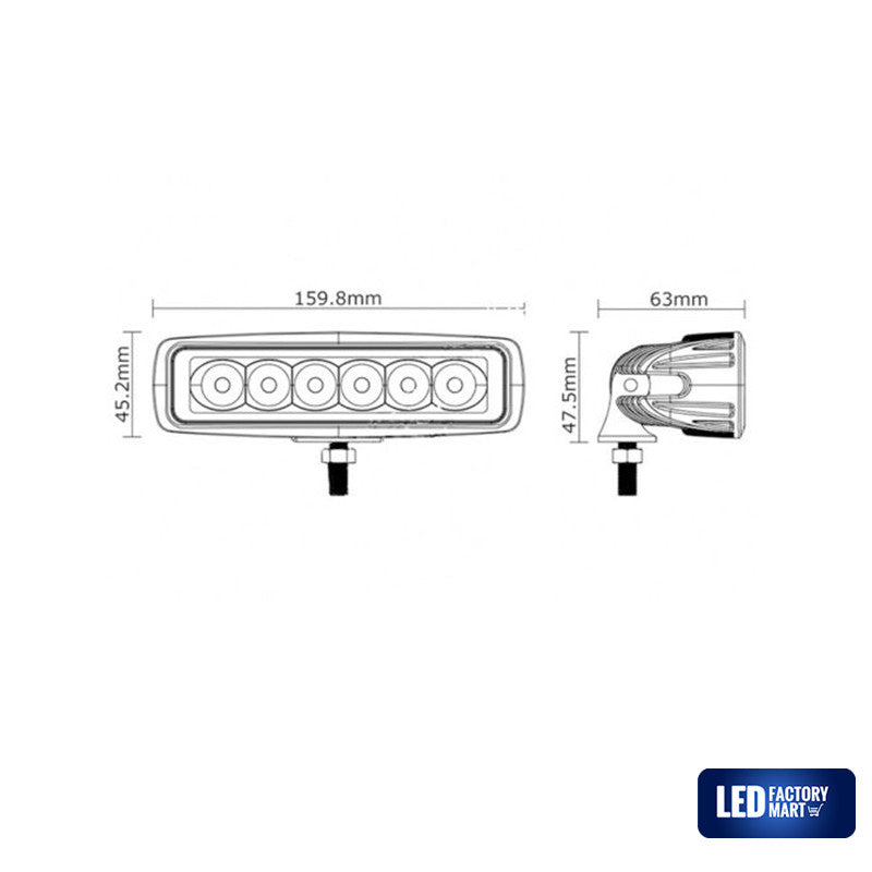 6 Inch 18W Epistar LED Light Bar For Jeeps, Off-road SUVs, 4WD, Boats - LED Factory Mart - 4
