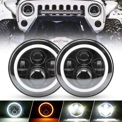 7 inch 80W Jeep LED Halo Headlights With Angel Eyes and Turn Signal Lights For 1997+ Jeep Wrangler JK/TJ/CJ/LJ/JL & Gladiator JT