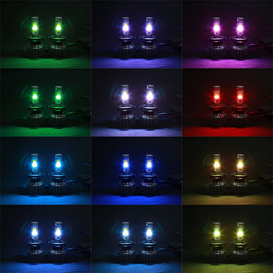 RGB Demon Eye Car LED Headlight w/ Bluetooth Controller
