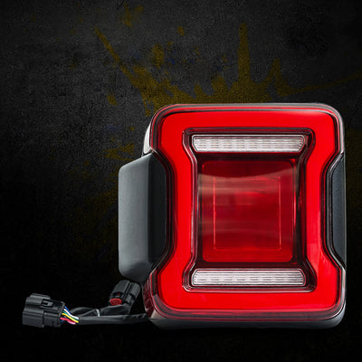 Brilliant LED Taillights with Red Lens For 2018+ Jeep Wrangler JL JLU