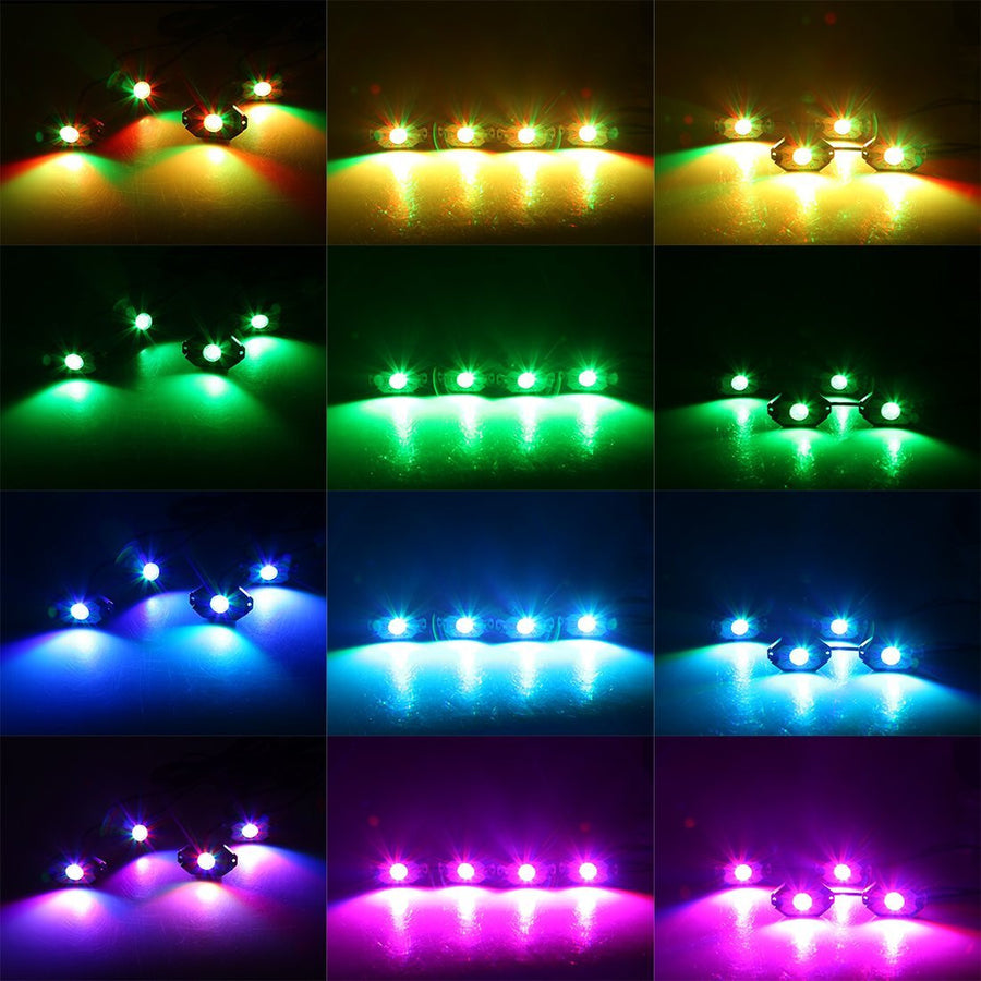 4x CREE LED RGB Rock Lights Kit w/Bluetooth Control - For That Neon Glow! - LED Factory Mart