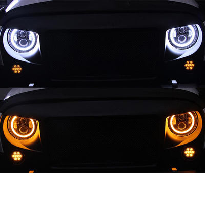 7 inch 80W Jeep Halo Headlights With Angel Eyes For 1997-2019 Jeep Wrangler JK/TJ/LJ/JL - LED Factory Mart
