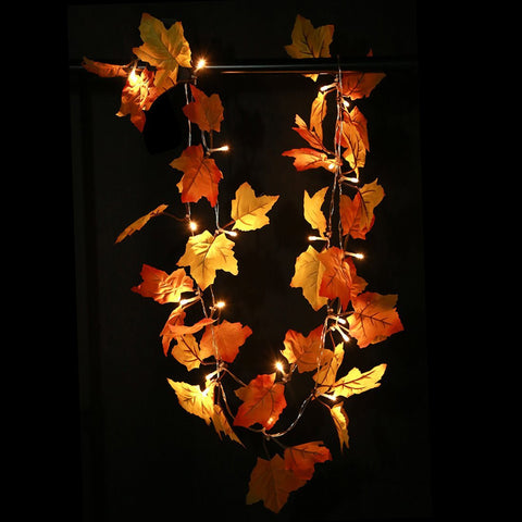 Fall Leaves Light String Set Autumn Leaf Garland Harvest Decor Thanksgiving - LED Factory Mart