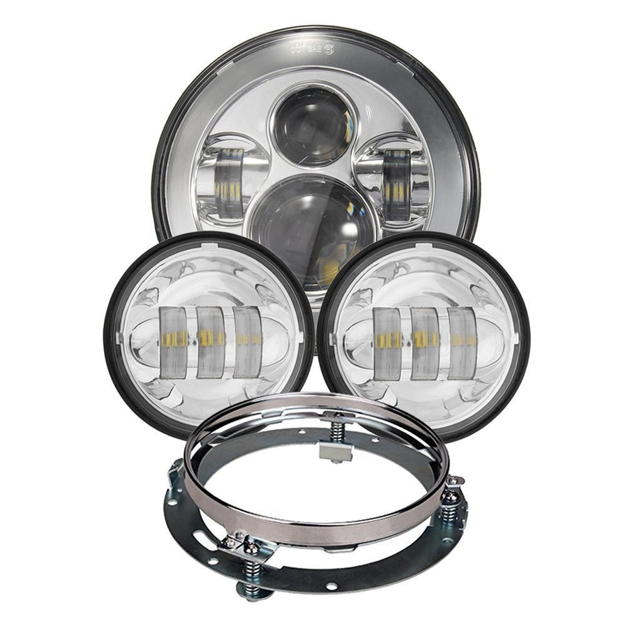"7"" LED Headlight + 4.5"" Fog Passing Lights with Bracket Ring"