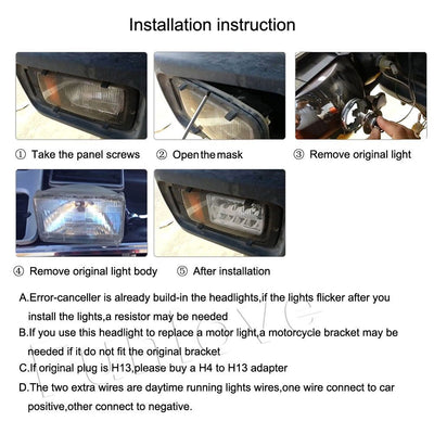 4X6 Inch LED Headlights Replacement High/Low Beam for GMC Ford Trucks