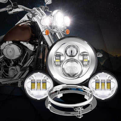 "7"" LED Headlight + 4.5"" Fog Passing Lights with Bracket Ring - LED Factory Mart"