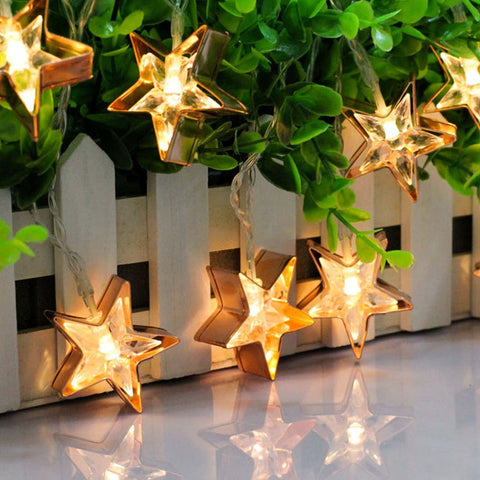 Warm White LED Christmas Decorations Stars Lights String Fairy Curtain Wedding - LED Factory Mart