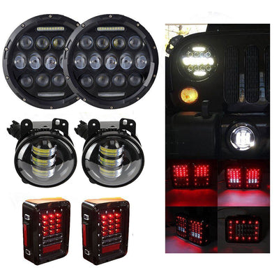 "7"" Round LED Headlight DRL+4"" 30W LED Fog Light+US Model Rear Taillight for Jeep Wrangler - LED Factory Mart"