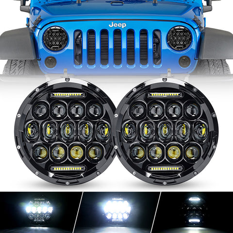 "7"" Headlights + 4"" Fog Lamps + Front Turn Signals + Fender Turn Signals + Taillights - Ultimate Combo for Jeep - LED Factory Mart"