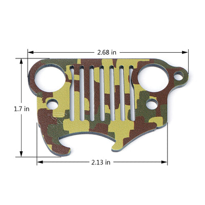 USA ONLY Green Camo Jeep Wrangler Keychain Bottle Opener