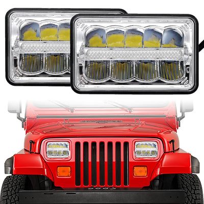4X6 Inch LED Headlights Replacement High/Low Beam for GMC Ford Trucks - LED Factory Mart