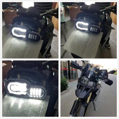 LED Replacement Headlight Assembly Kit w/ Angel Eyes DRL For BMW F800GS