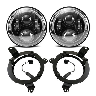 "Brightest 120W LED Halo Headlight & 9'' Headlight Bracket Ring & 4"" LED Fog Light For 2018+ Jeep Wrangler JL And Jeep Gladiator JT"
