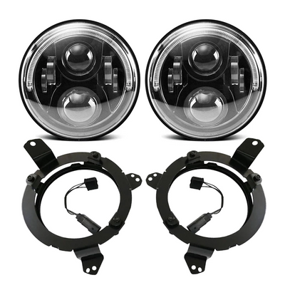 120W Cree LED Halo Headlight With 9'' Headlight Bracket & LED Halo Fog Light For 2018-2020 Jeep Wrangler JL And Jeep Gladiator JT - LED Factory Mart