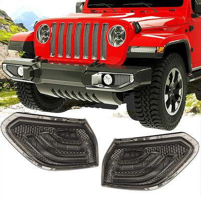 Smoke Lens LED Side Maker Fender Flares Lights for Jeep Wrangler JL 2018+
