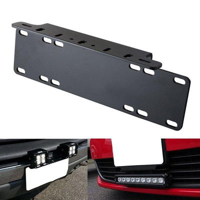 EU Edition License Plate Holder LED Light Bar Lamps Mount Bracket For Jeep Offroad SUV