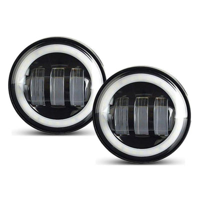 Harley LED Headlight with White/Amber Halo + Passing Lights