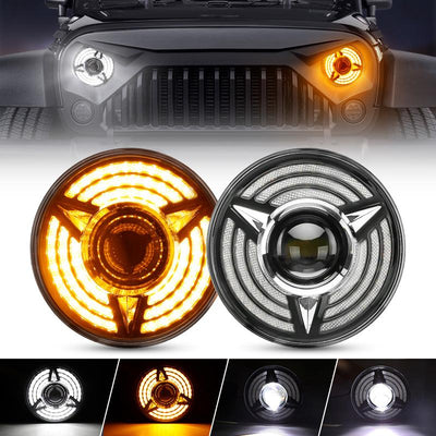 Beast Series LED Halo Headlights With DRL and Sequential Turn Signal Lights For 1997+ Jeep Wrangler JK/TJ/CJ/LJ/JL & Gladiator JT