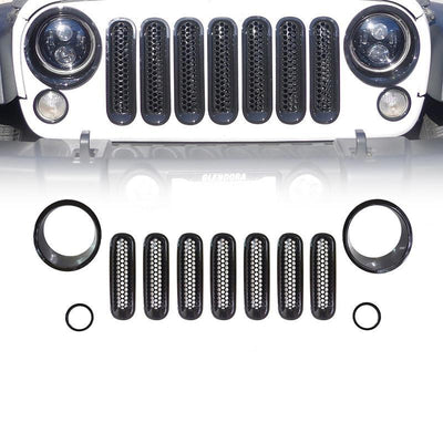 Black Front Grille Insert and Bezel Cover For Headlight and Turn Signal Light
