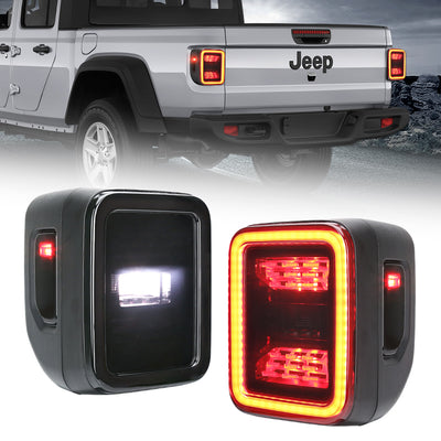 Newest Multi-Function Smoked LED Tail Lights For Jeep Wrangler JT 2020-2021