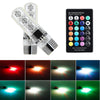 T10 6SMD 5050 RGB LED Car Interior Light Bulbs w/Remote Control