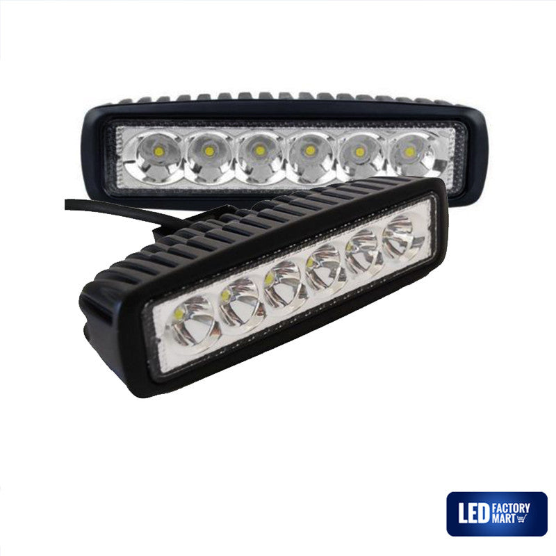 6 Inch 18W Epistar LED Light Bar For Jeeps, Off-road SUVs, 4WD, Boats - LED Factory Mart - 1