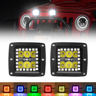 "3"" 18W CREE Square LED Pods Work Light Bars with RGB Halo for Off-road Truck"