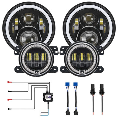 2020 Newest LED RGB Color Changing Halo Headlight with Amber Turn Signal + Fog Light Kit Combo For 2007-2018 Jeep Wrangler JK - LED Factory Mart