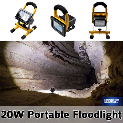 20W Wireless Rechargeable LED Outdoor Flood Light - Yellow - LED Factory Mart - 1